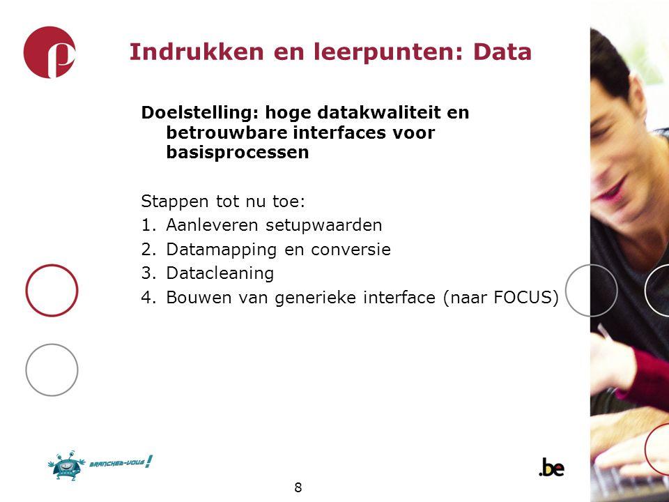 8 Indrukken en leerpunten: Data Doelstelling: hoge datakwaliteit en betrouwbare interfaces voor basisprocessen Stappen tot nu toe: 1.Aanleveren setupw