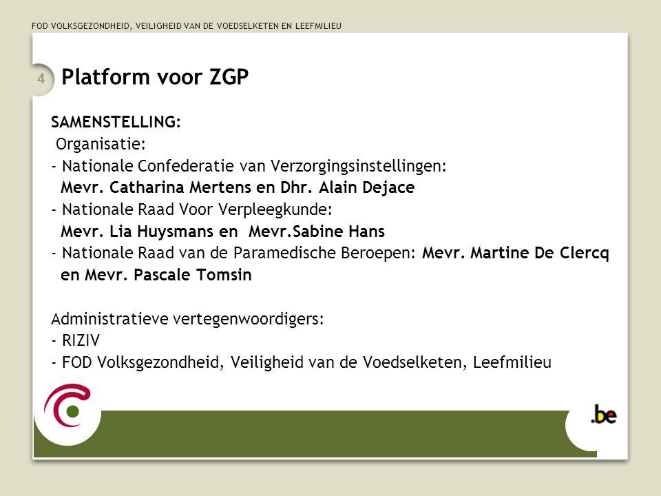 FOD VOLKSGEZONDHEID, VEILIGHEID VAN DE VOEDSELKETEN EN LEEFMILIEU 4 Platform voor ZGP SAMENSTELLING: Organisatie: - Nationale Confederatie van Verzorg