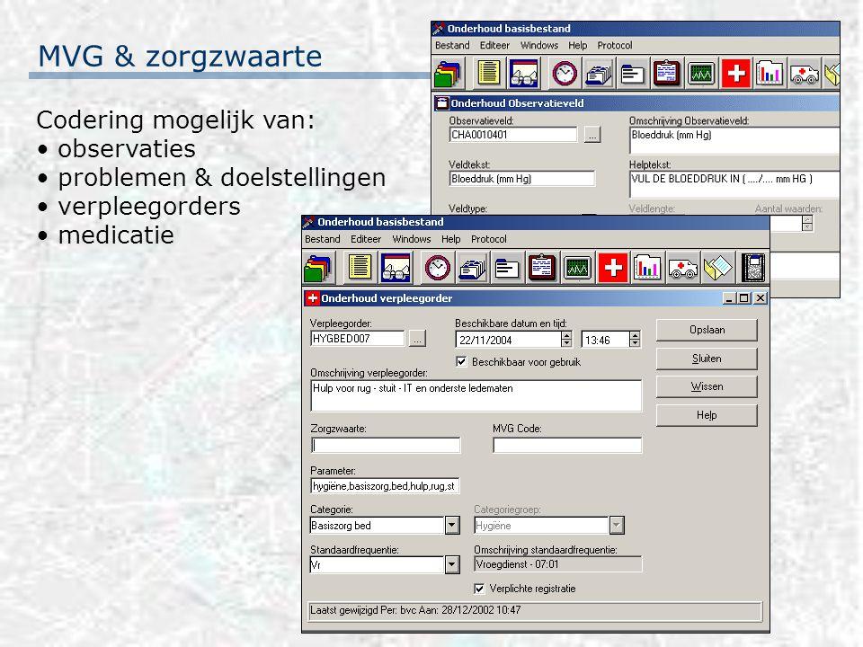 MVG & zorgzwaarte Codering mogelijk van: observaties problemen & doelstellingen verpleegorders medicatie