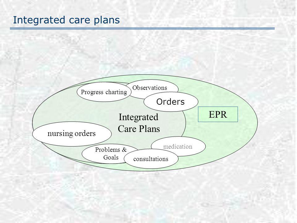 Observations Problems & Goals Integrated Care Plans EPR nursing orders Orders medication consultations Progress charting Integrated care plans
