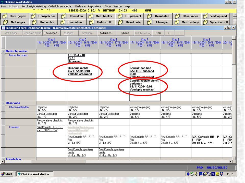 Traumatologie : gedefinieerde klinische paden TRA001 Overname IZ TRA002 plan besmet materiaal BL conservatief TRA003 plan besmet materiaal OL operatief; pre- en postop.
