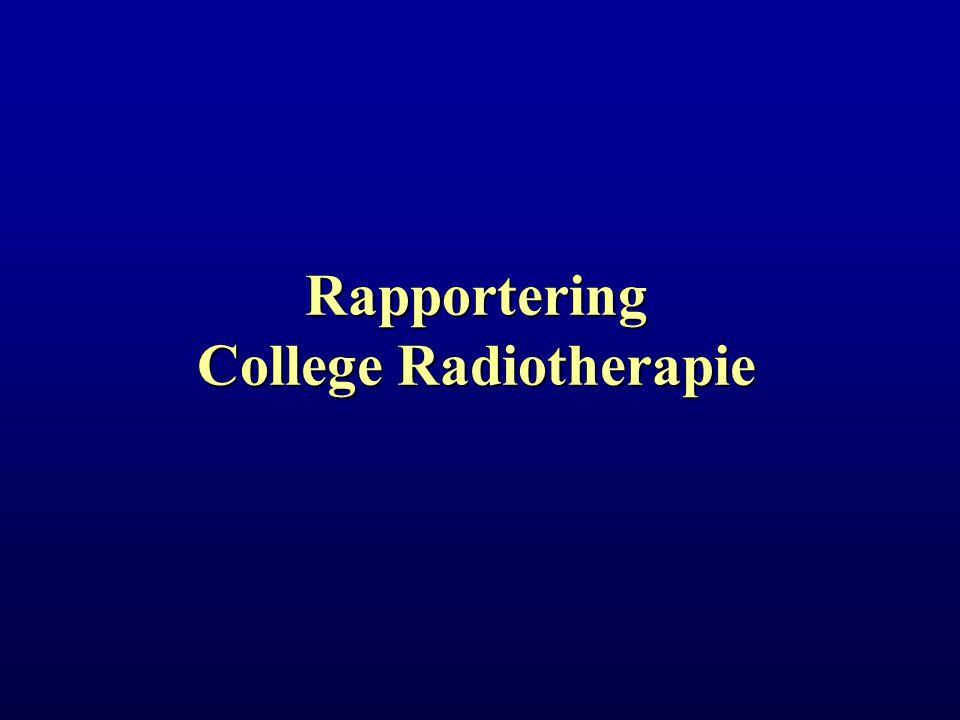 Rapportering College Radiotherapie Academische Zitting 24-11-2004 Overzicht A.Samenstelling college radiotherapie B.1995-2005: uitgevoerde projecten C.Projecten 2005