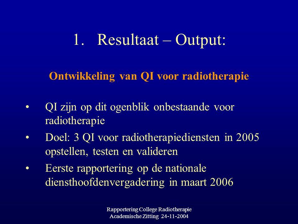 Rapportering College Radiotherapie Academische Zitting 24-11-2004 1.Resultaat – Output: Ontwikkeling van QI voor radiotherapie QI zijn op dit ogenblik onbestaande voor radiotherapie Doel: 3 QI voor radiotherapiediensten in 2005 opstellen, testen en valideren Eerste rapportering op de nationale diensthoofdenvergadering in maart 2006