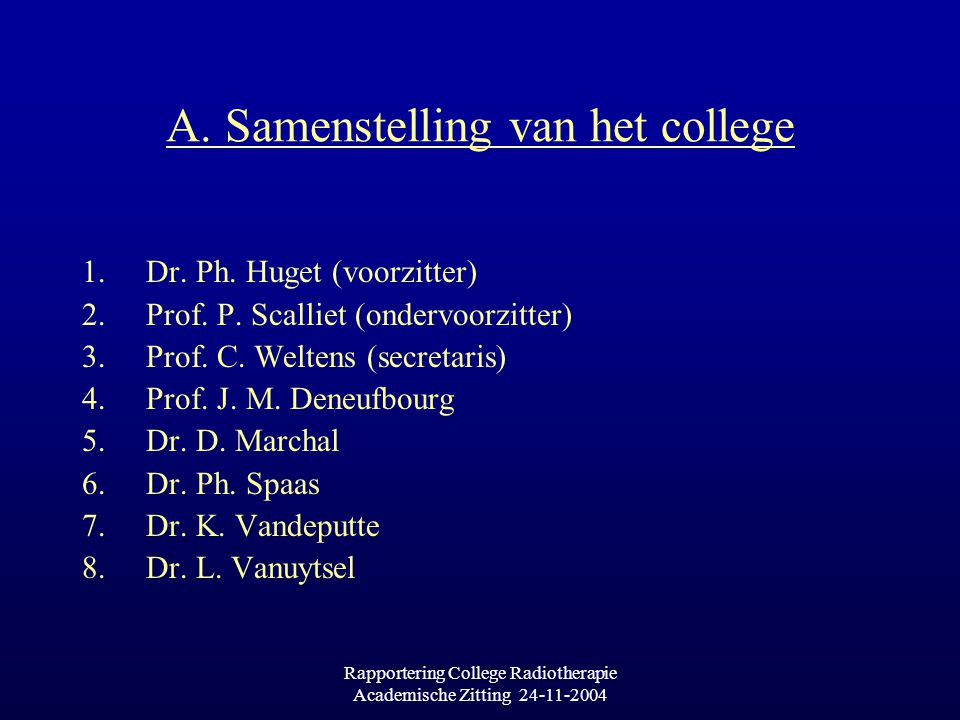 Rapportering College Radiotherapie Academische Zitting 24-11-2004 A. Samenstelling van het college 1.Dr. Ph. Huget (voorzitter) 2.Prof. P. Scalliet (o