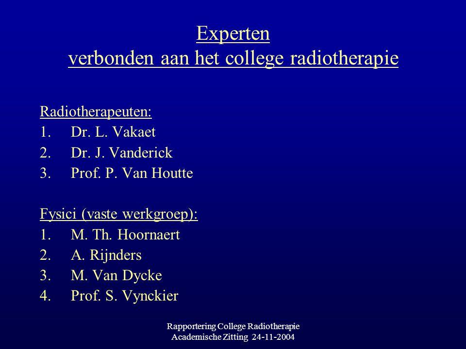 Rapportering College Radiotherapie Academische Zitting 24-11-2004 Experten verbonden aan het college radiotherapie Radiotherapeuten: 1.Dr.