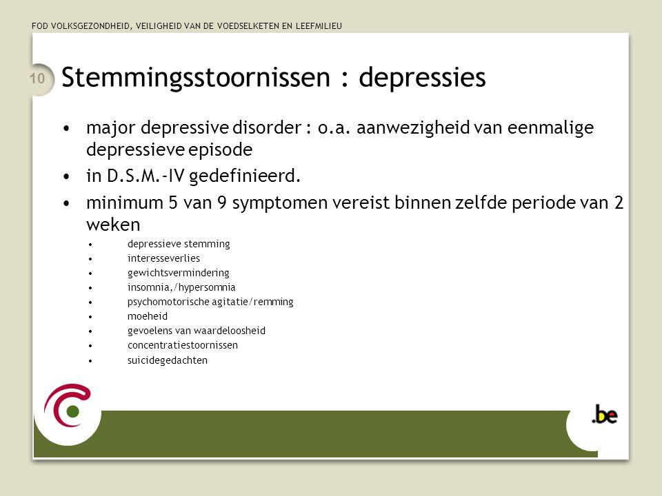 FOD VOLKSGEZONDHEID, VEILIGHEID VAN DE VOEDSELKETEN EN LEEFMILIEU 10 Stemmingsstoornissen : depressies major depressive disorder : o.a. aanwezigheid v