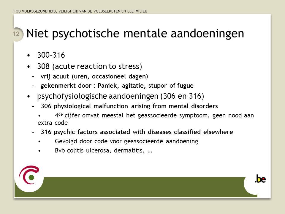 FOD VOLKSGEZONDHEID, VEILIGHEID VAN DE VOEDSELKETEN EN LEEFMILIEU 12 Niet psychotische mentale aandoeningen 300-316 308 (acute reaction to stress) –vr