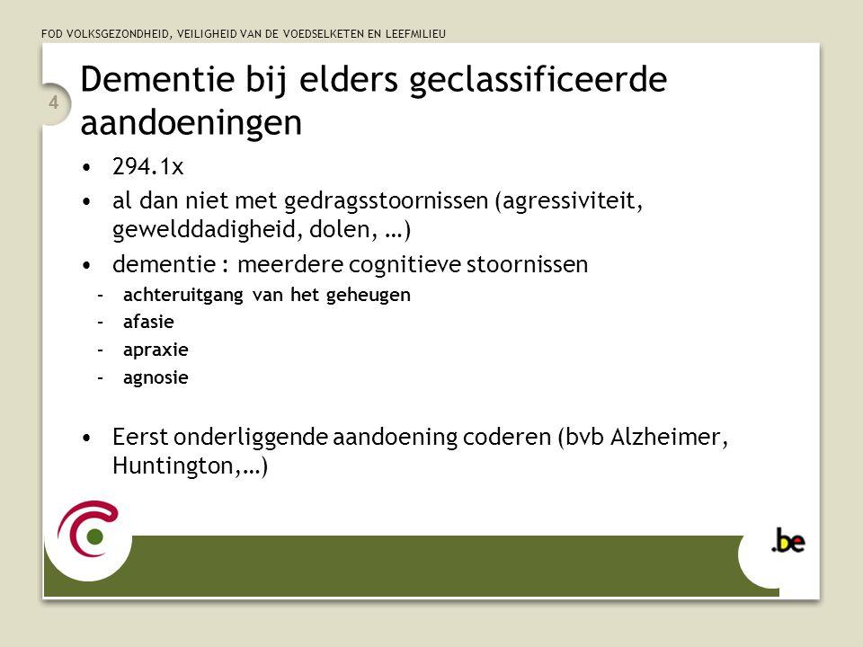 FOD VOLKSGEZONDHEID, VEILIGHEID VAN DE VOEDSELKETEN EN LEEFMILIEU 5 Ziekte van Alzheimer 331.0 amyloïde plaques en neurofibrillaire kluwens treft 47% van de 85plussers meest voorkomende oorzaak van dementie begint traag, in begin vaak enkel lichte geheugenproblemen als dementie aanwezig, dan 294.1x
