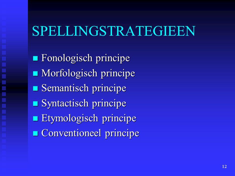 12 SPELLINGSTRATEGIEEN Fonologisch principe Fonologisch principe Morfologisch principe Morfologisch principe Semantisch principe Semantisch principe S