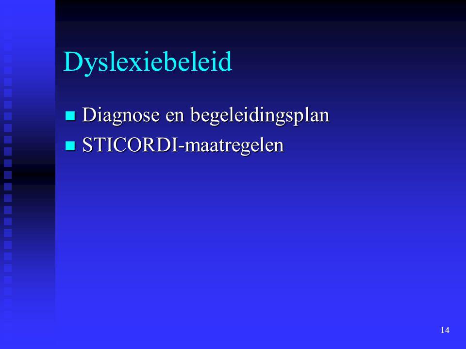 14 Dyslexiebeleid Diagnose en begeleidingsplan Diagnose en begeleidingsplan STICORDI-maatregelen STICORDI-maatregelen