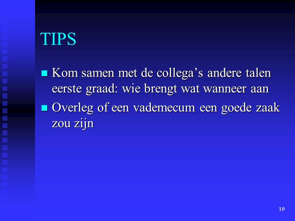 19 TIPS Kom samen met de collega's andere talen eerste graad: wie brengt wat wanneer aan Kom samen met de collega's andere talen eerste graad: wie bre