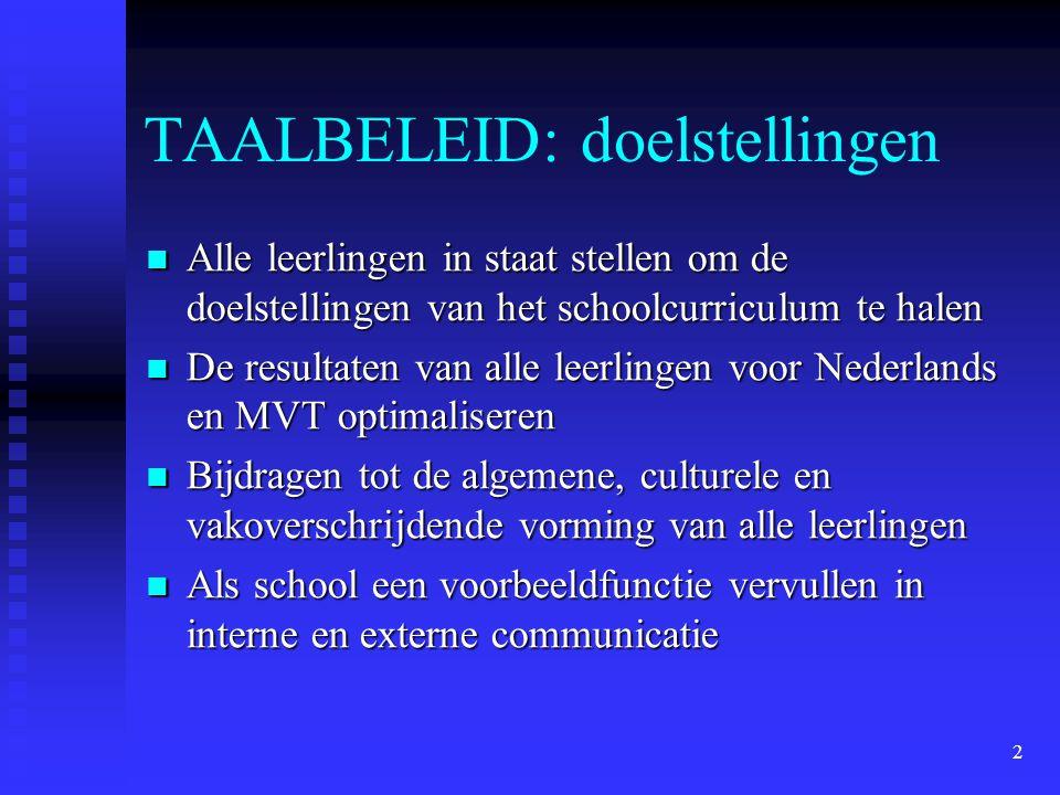 2 TAALBELEID: doelstellingen Alle leerlingen in staat stellen om de doelstellingen van het schoolcurriculum te halen Alle leerlingen in staat stellen