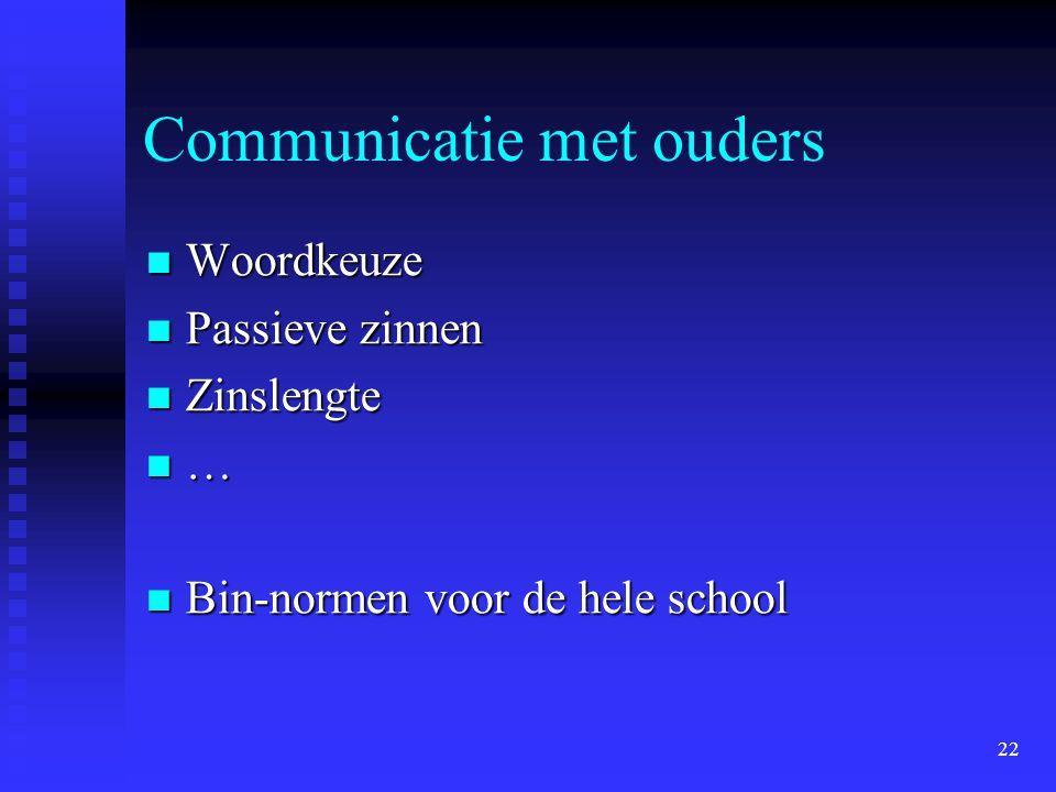 22 Communicatie met ouders Woordkeuze Woordkeuze Passieve zinnen Passieve zinnen Zinslengte Zinslengte … Bin-normen voor de hele school Bin-normen voo