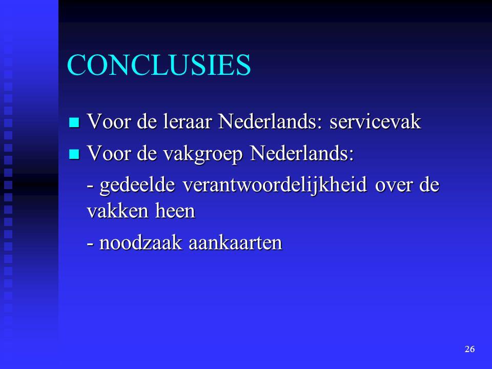 26 CONCLUSIES Voor de leraar Nederlands: servicevak Voor de leraar Nederlands: servicevak Voor de vakgroep Nederlands: Voor de vakgroep Nederlands: -