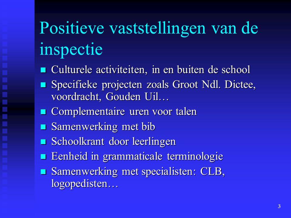 3 Positieve vaststellingen van de inspectie Culturele activiteiten, in en buiten de school Culturele activiteiten, in en buiten de school Specifieke p