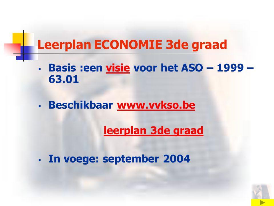Leerplan ECONOMIE 3de graad  Basis :een visie voor het ASO – 1999 – 63.01visie  Beschikbaar www.vvkso.bewww.vvkso.be leerplan 3de graad  In voege: september 2004