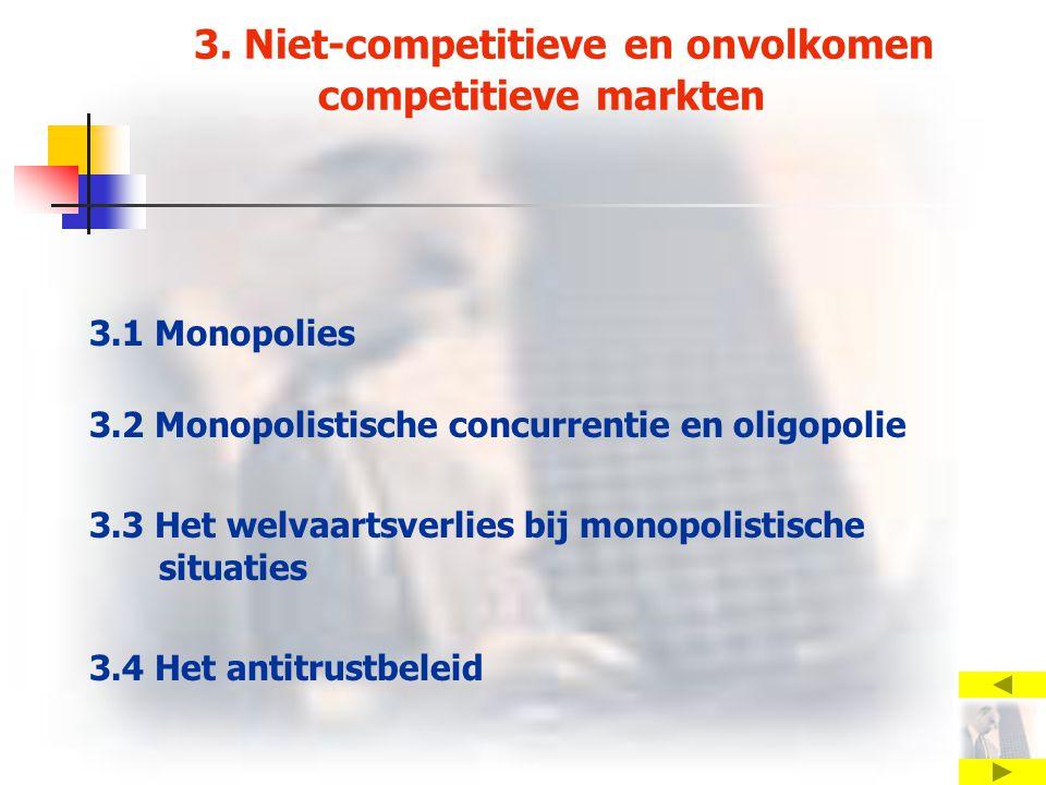 3. Niet-competitieve en onvolkomen competitieve markten 3.1 Monopolies 3.2 Monopolistische concurrentie en oligopolie 3.3 Het welvaartsverlies bij mon