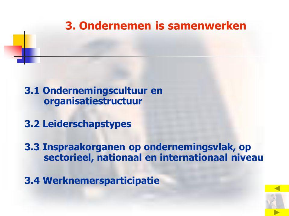 3. Ondernemen is samenwerken 3.1 Ondernemingscultuur en organisatiestructuur 3.2 Leiderschapstypes 3.3 Inspraakorganen op ondernemingsvlak, op sectori