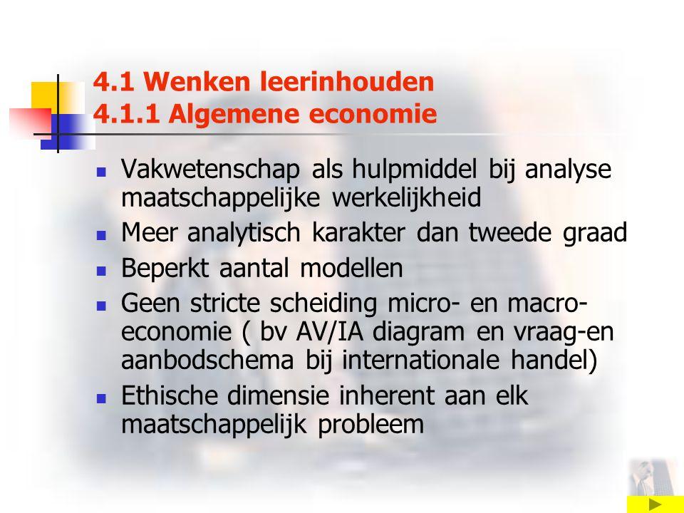 4.1 Wenken leerinhouden 4.1.1 Algemene economie Vakwetenschap als hulpmiddel bij analyse maatschappelijke werkelijkheid Meer analytisch karakter dan tweede graad Beperkt aantal modellen Geen stricte scheiding micro- en macro- economie ( bv AV/IA diagram en vraag-en aanbodschema bij internationale handel) Ethische dimensie inherent aan elk maatschappelijk probleem