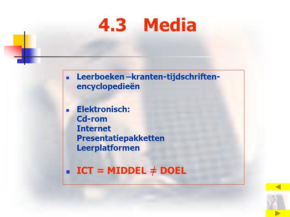 4.3 Media Leerboeken –kranten-tijdschriften- encyclopedieën Elektronisch: Cd-rom Internet Presentatiepakketten Leerplatformen ICT = MIDDEL = DOEL