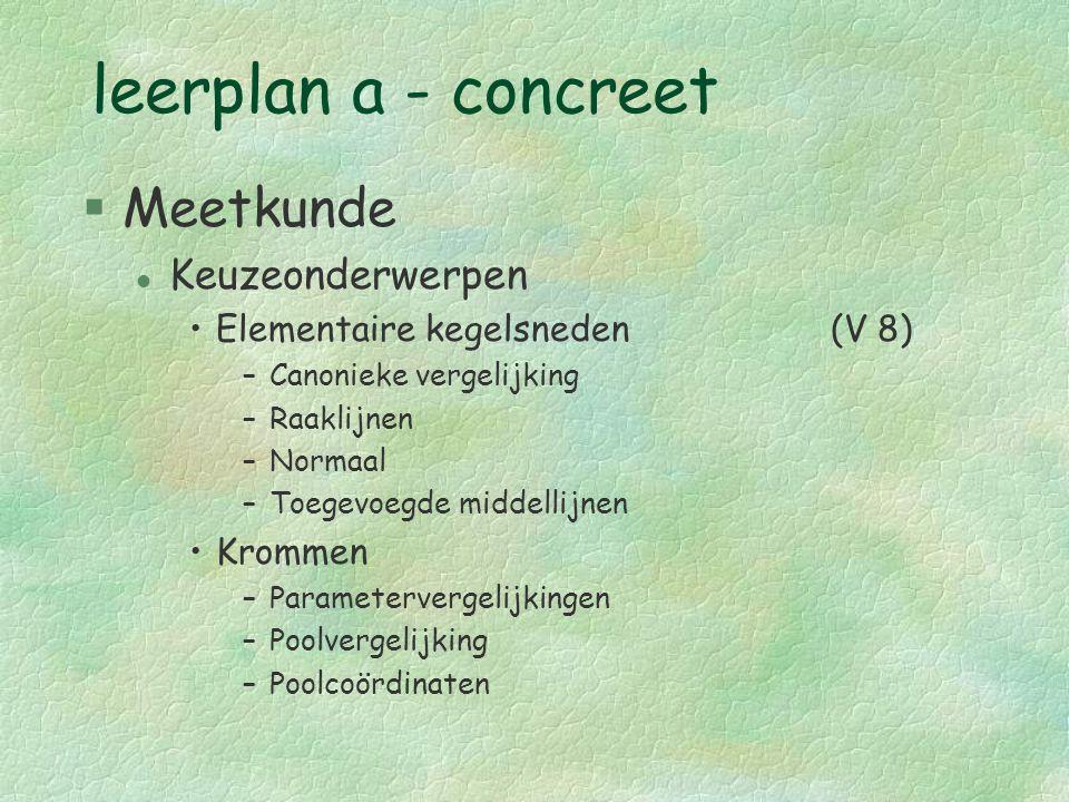 leerplan a - concreet §Meetkunde l Keuzeonderwerpen Elementaire kegelsneden(V 8) –Canonieke vergelijking –Raaklijnen –Normaal –Toegevoegde middellijne