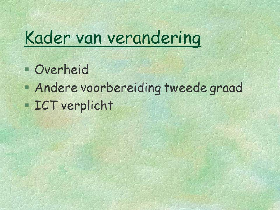Overheid Opleggen van eindtermen (goedgekeurd in Vlaamse raad) Nog geen specifieke eindtermen bekend Invoering derde graad: vanaf 1 september 2004