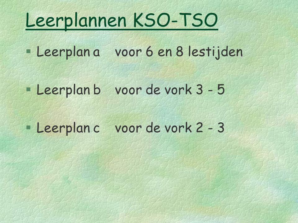 Leerplannen KSO-TSO §Leerplan avoor 6 en 8 lestijden §Leerplan bvoor de vork 3 - 5 §Leerplan cvoor de vork 2 - 3