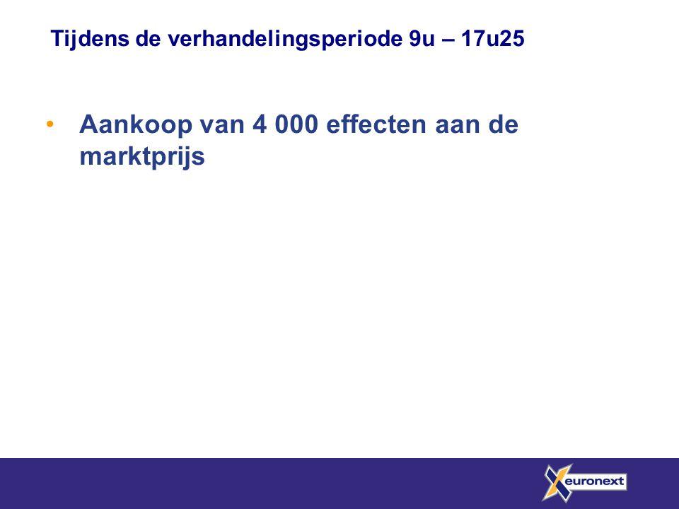Tijdens de verhandelingsperiode 9u – 17u25 Aankoop van 4 000 effecten aan de marktprijs