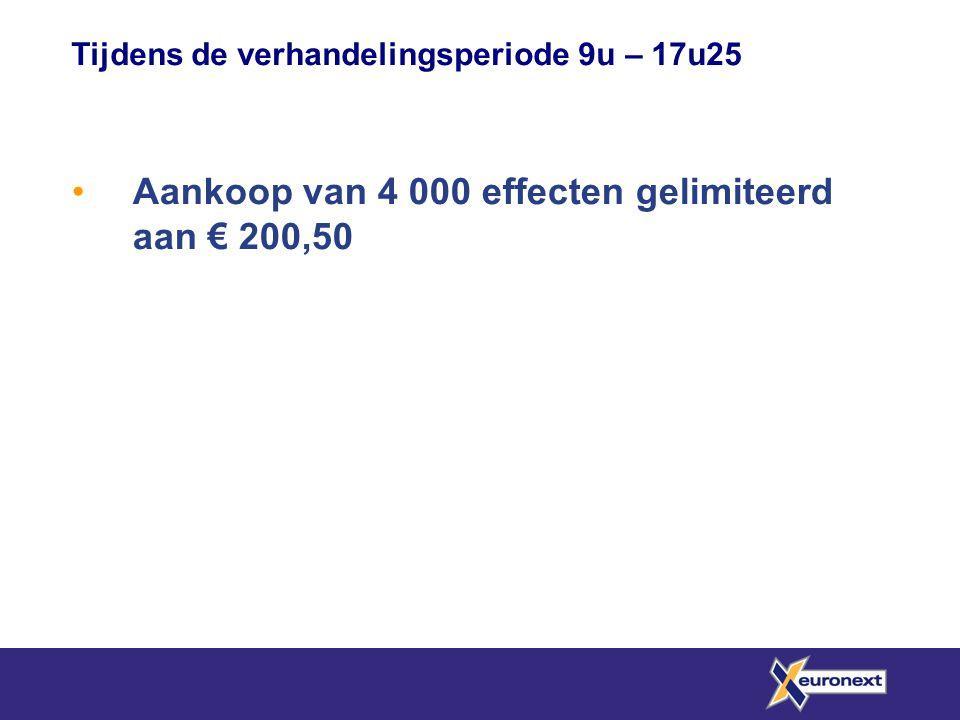 Aankoop van 4 000 effecten gelimiteerd aan € 200,50 Tijdens de verhandelingsperiode 9u – 17u25