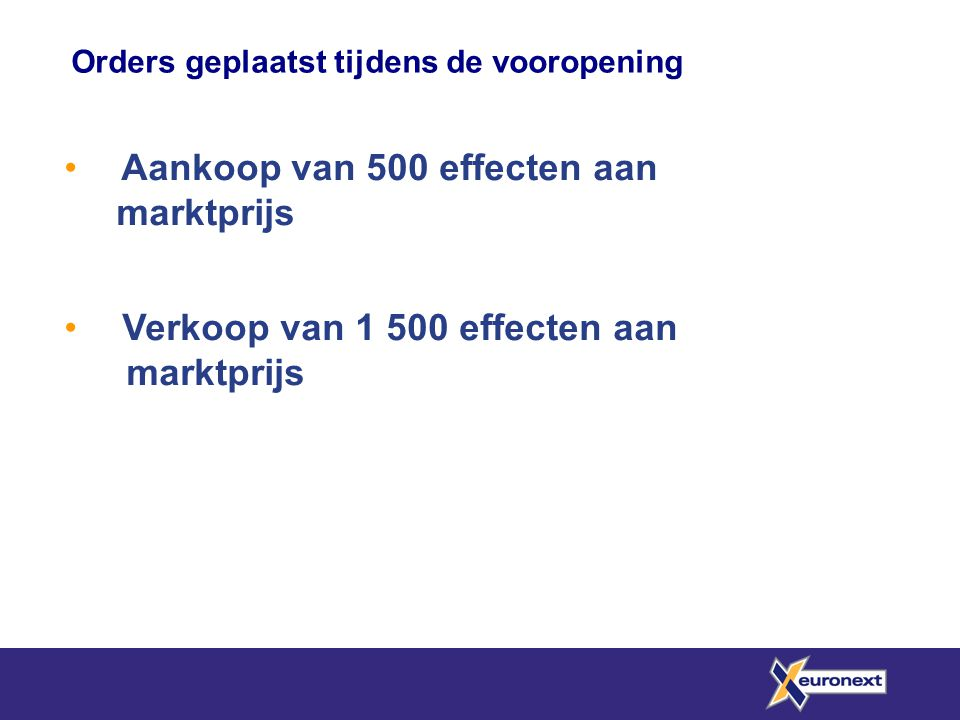 Aankoop van 500 effecten aan marktprijs Verkoop van 1 500 effecten aan marktprijs Orders geplaatst tijdens de vooropening