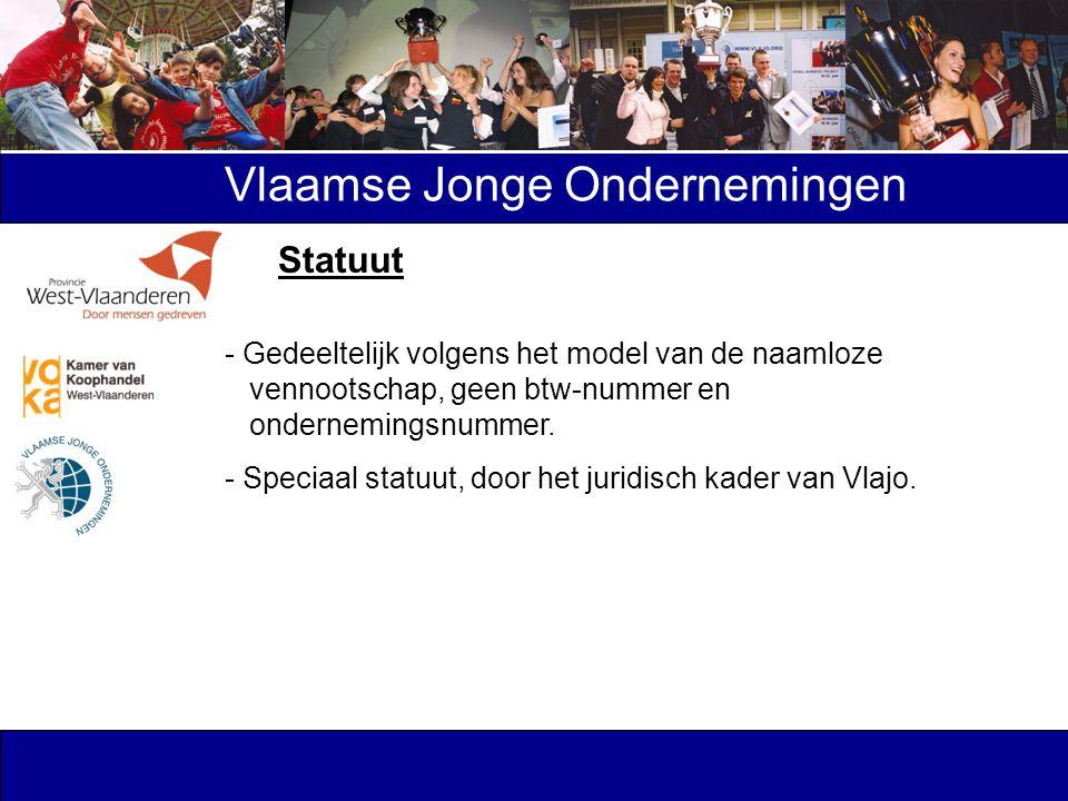 Vlaamse Jonge Ondernemingen - Gedeeltelijk volgens het model van de naamloze vennootschap, geen btw-nummer en ondernemingsnummer. - Speciaal statuut,