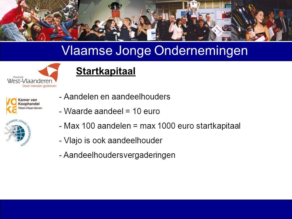 Vlaamse Jonge Ondernemingen - Aandelen en aandeelhouders - Waarde aandeel = 10 euro - Max 100 aandelen = max 1000 euro startkapitaal - Vlajo is ook aa