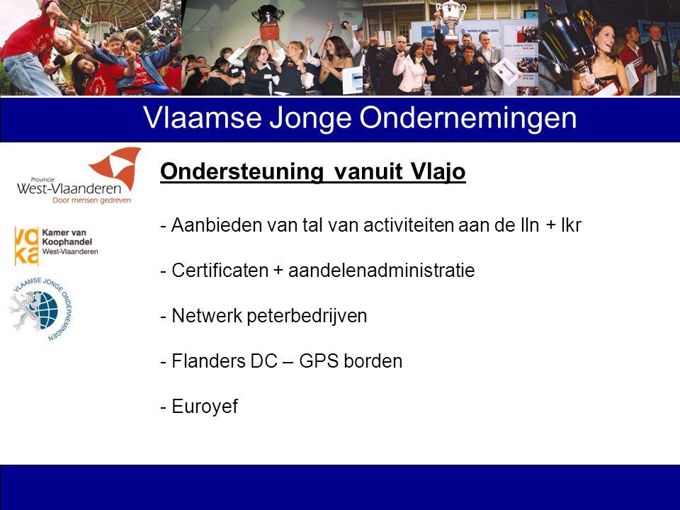 Vlaamse Jonge Ondernemingen Ondersteuning vanuit Vlajo - Aanbieden van tal van activiteiten aan de lln + lkr - Certificaten + aandelenadministratie -