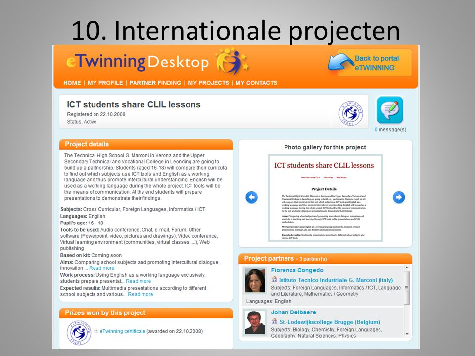 10. Internationale projecten