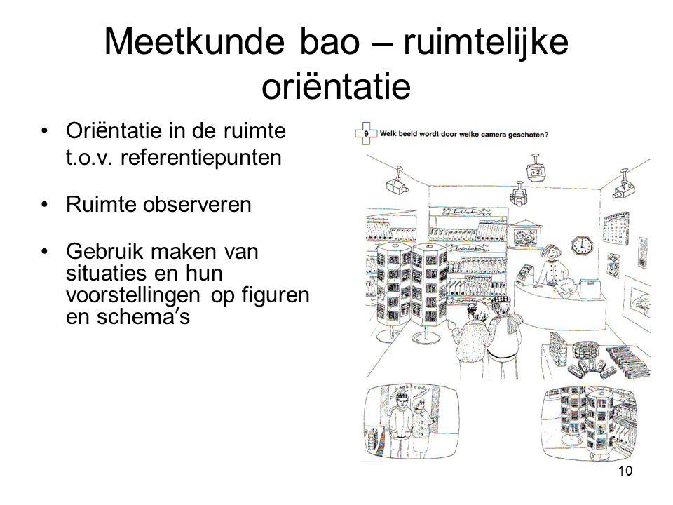 10 Meetkunde bao – ruimtelijke oriëntatie Ori ë ntatie in de ruimte t.o.v. referentiepunten Ruimte observeren Gebruik maken van situaties en hun voors