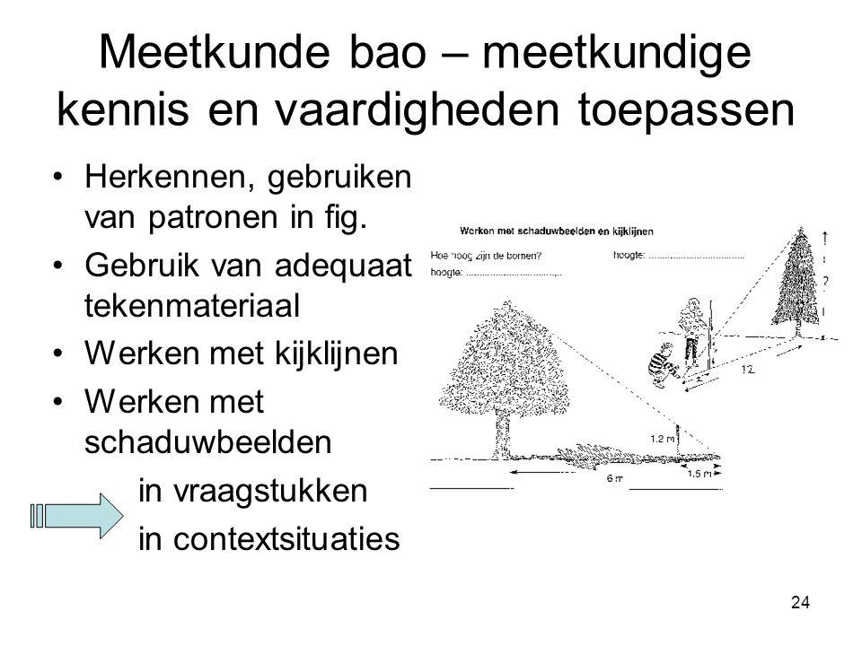 24 Meetkunde bao – meetkundige kennis en vaardigheden toepassen Herkennen, gebruiken van patronen in fig. Gebruik van adequaat tekenmateriaal Werken m