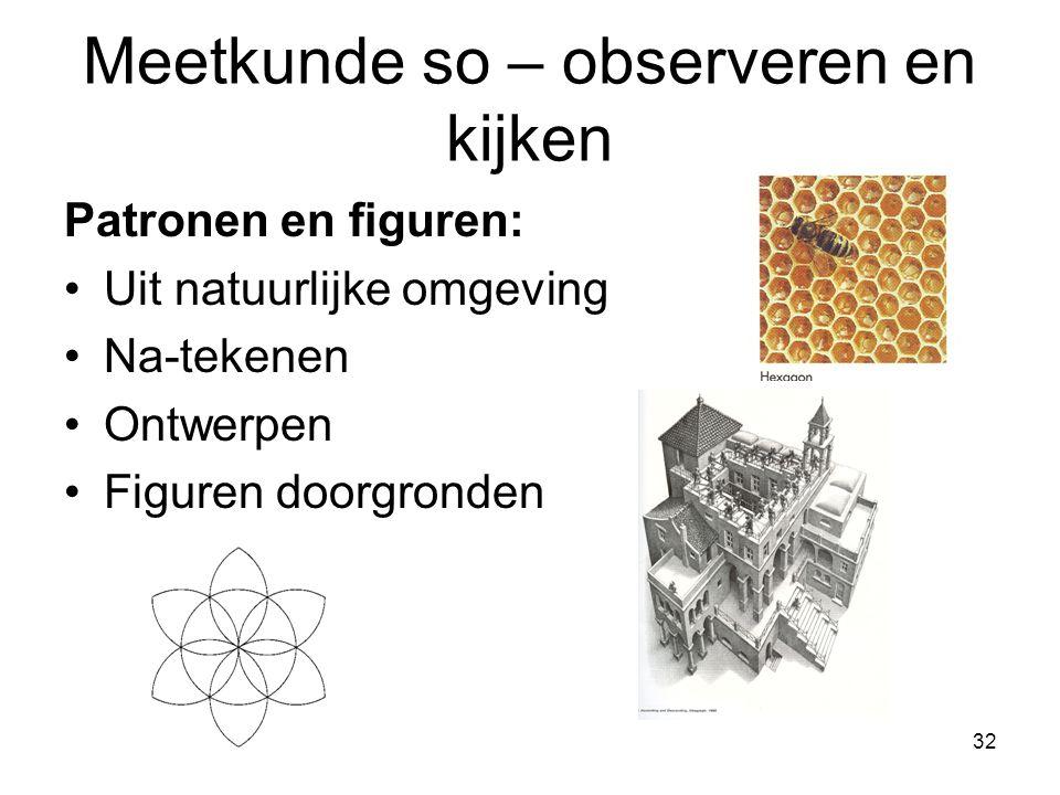 32 Meetkunde so – observeren en kijken Patronen en figuren: Uit natuurlijke omgeving Na-tekenen Ontwerpen Figuren doorgronden