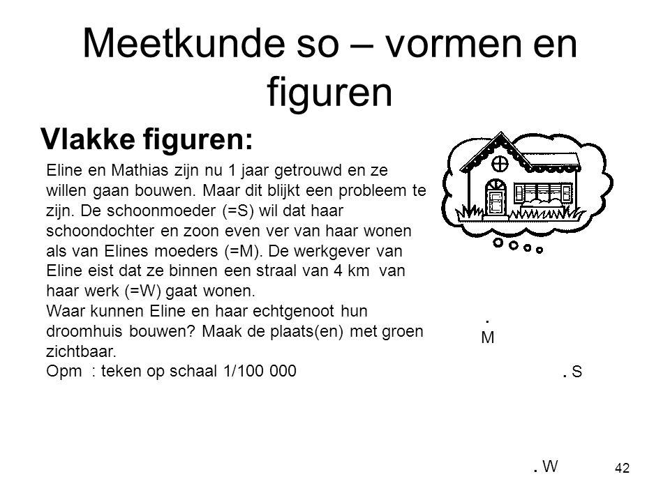 42 Meetkunde so – vormen en figuren Vlakke figuren: Eline en Mathias zijn nu 1 jaar getrouwd en ze willen gaan bouwen. Maar dit blijkt een probleem te
