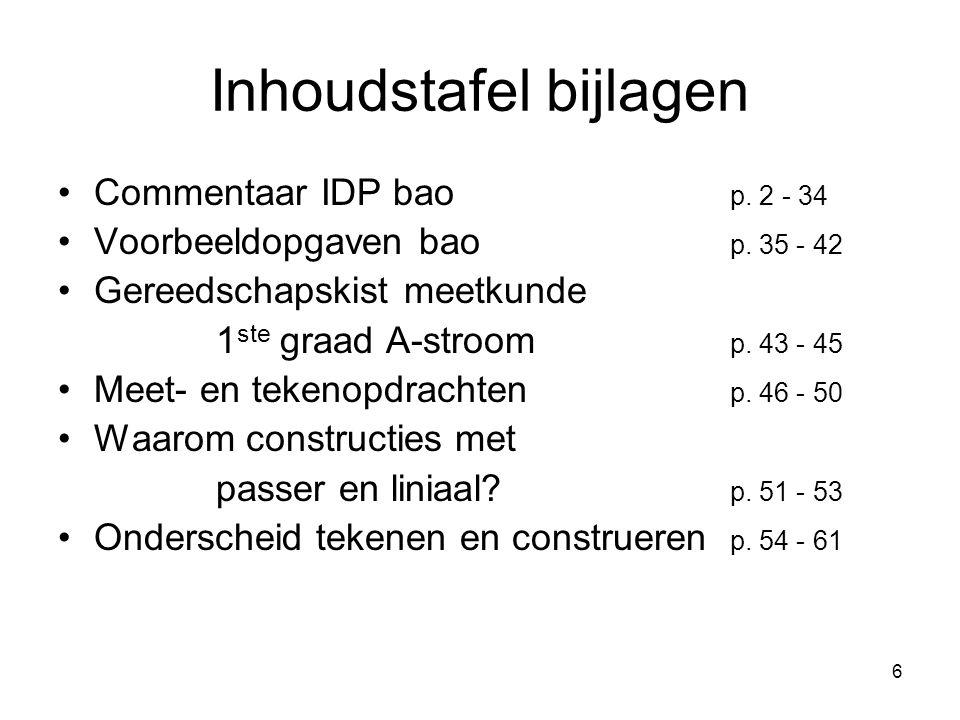 6 Inhoudstafel bijlagen Commentaar IDP bao p. 2 - 34 Voorbeeldopgaven bao p. 35 - 42 Gereedschapskist meetkunde 1 ste graad A-stroom p. 43 - 45 Meet-
