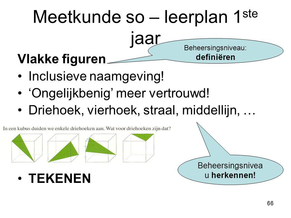 66 Meetkunde so – leerplan 1 ste jaar Vlakke figuren Inclusieve naamgeving! 'Ongelijkbenig' meer vertrouwd! Driehoek, vierhoek, straal, middellijn, …