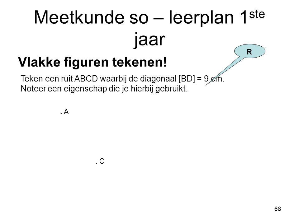 68 Meetkunde so – leerplan 1 ste jaar Vlakke figuren tekenen! Teken een ruit ABCD waarbij de diagonaal [BD] = 9 cm. Noteer een eigenschap die je hierb