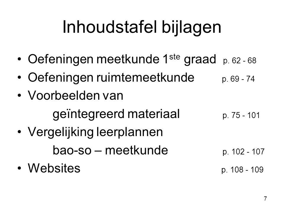 7 Inhoudstafel bijlagen Oefeningen meetkunde 1 ste graad p. 62 - 68 Oefeningen ruimtemeetkunde p. 69 - 74 Voorbeelden van geïntegreerd materiaal p. 75