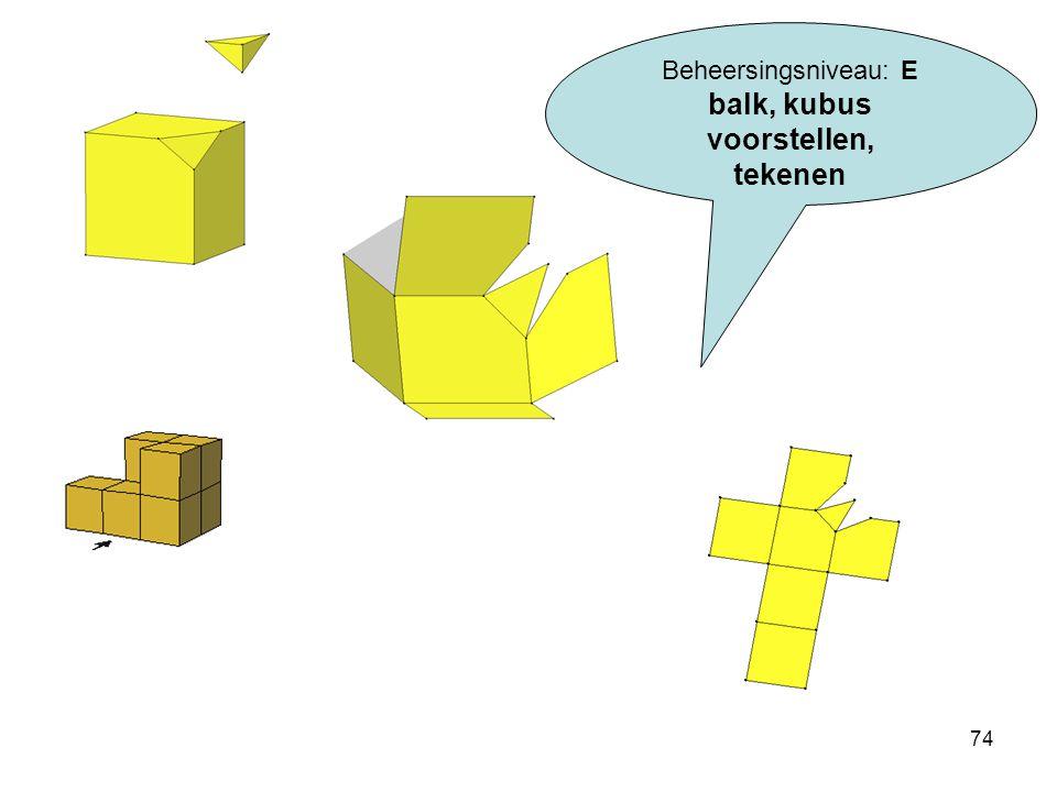 74 Beheersingsniveau: E balk, kubus voorstellen, tekenen