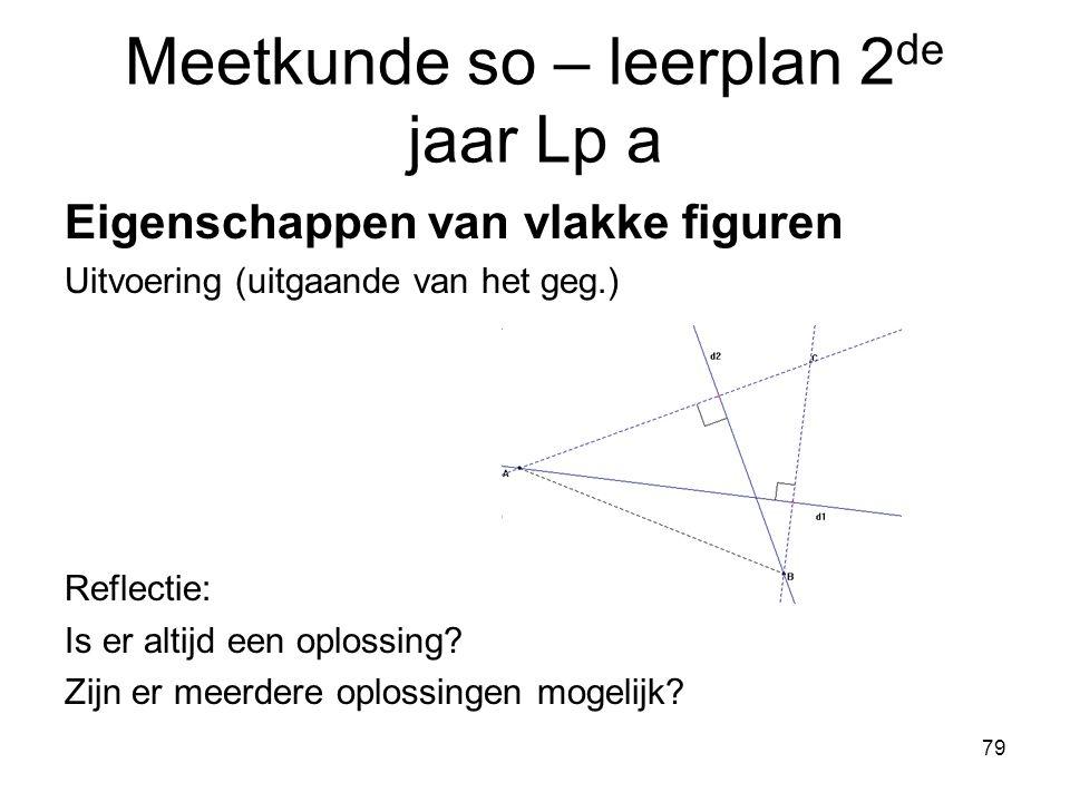 79 Meetkunde so – leerplan 2 de jaar Lp a Eigenschappen van vlakke figuren Uitvoering (uitgaande van het geg.) Reflectie: Is er altijd een oplossing?