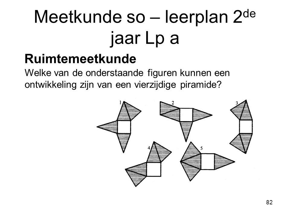 82 Meetkunde so – leerplan 2 de jaar Lp a Ruimtemeetkunde Welke van de onderstaande figuren kunnen een ontwikkeling zijn van een vierzijdige piramide?
