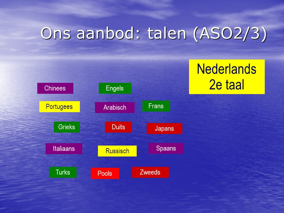Ons aanbod: talen (ASO2/3) Chinees Portugees Arabisch Grieks Frans Russisch Italiaans Spaans Duits Engels Nederlands 2e taal Japans Turks Zweeds Pools