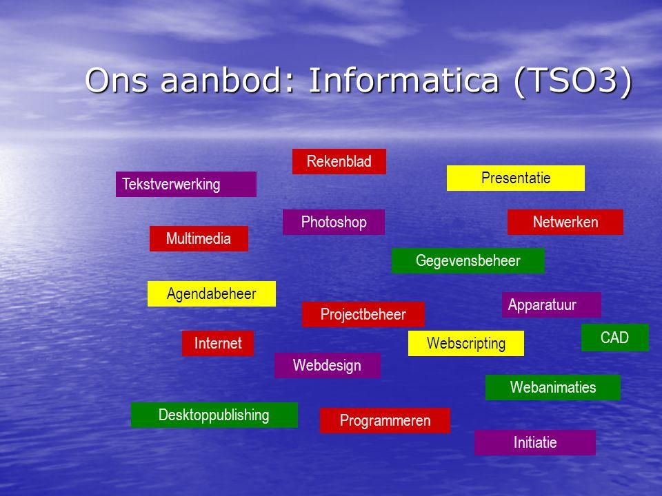 Ons aanbod: Informatica (TSO3) Tekstverwerking Multimedia Photoshop Agendabeheer Gegevensbeheer Webdesign InternetWebscripting Projectbeheer Rekenblad