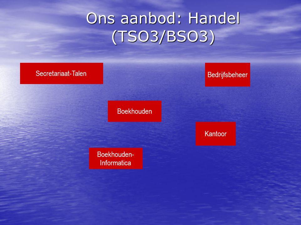 Ons aanbod: Handel (TSO3/BSO3) Boekhouden Kantoor Boekhouden- Informatica Bedrijfsbeheer Secretariaat-Talen