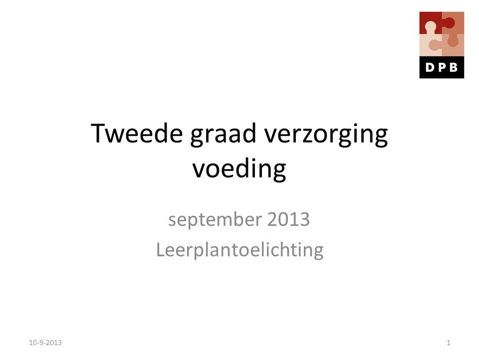 Tweede graad verzorging voeding september 2013 Leerplantoelichting 10-9-20131