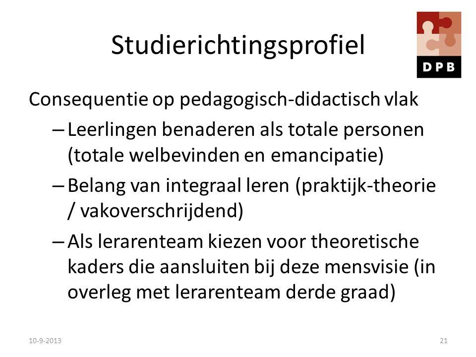 Studierichtingsprofiel Consequentie op pedagogisch-didactisch vlak – Leerlingen benaderen als totale personen (totale welbevinden en emancipatie) – Be